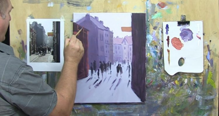 """Learn To Paint TV E9 """"Whitby Lanes"""" Painting A Fishing Village Acrylic Paint Beginners Tutorial."""