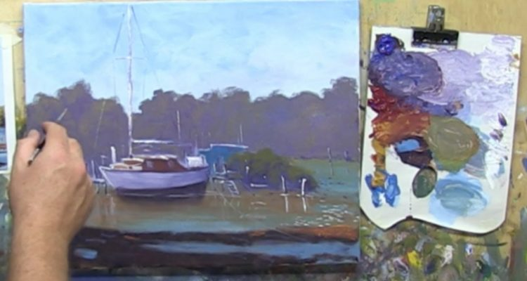 """Learn To Paint TV E8 """"Low Tide Near Maryborough"""" Painting Boast in Acrylic Paint Beginners Tutorial."""