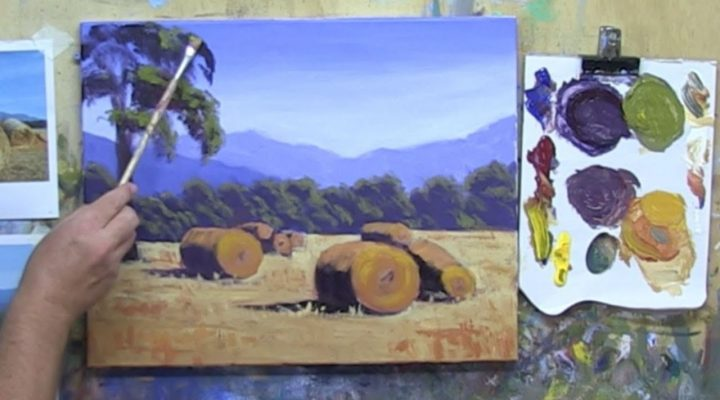 Learn To Paint TV E11 Grampians Hay Bales Landscape Painting In Acrylic Beginners