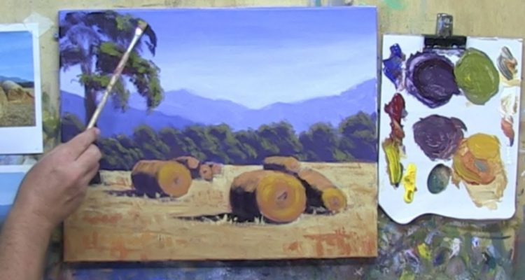 """Learn To Paint TV E11 """"Grampians Hay Bales"""" Landscape Painting in Acrylic Paint Beginners Tutorial"""
