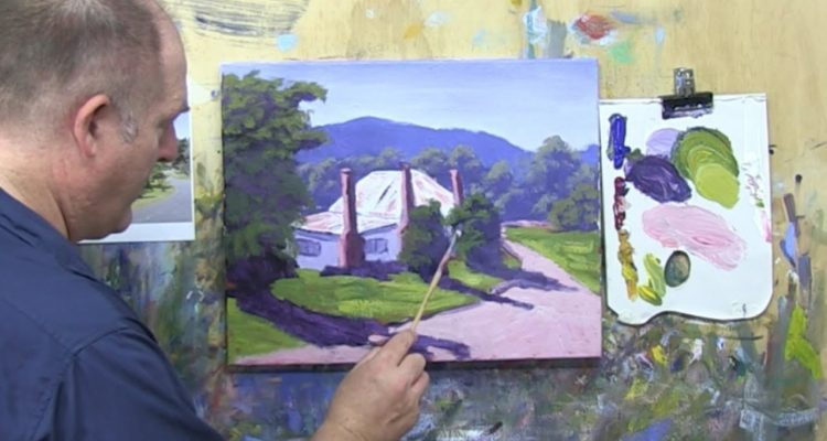 """Learn To Paint TV E14 """"Hills End Cottage"""" Acrylic Painting For Beginners Step By Step."""